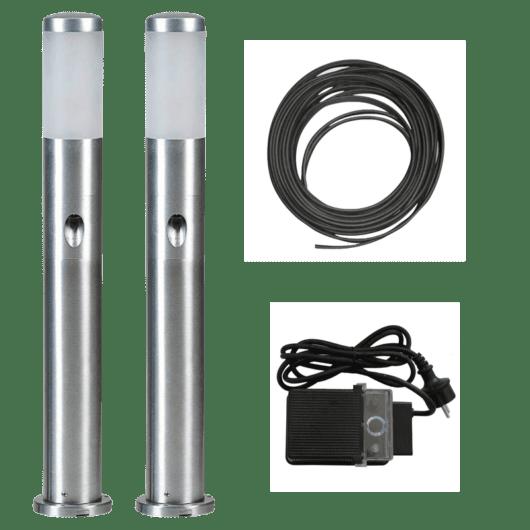 Alu LED-stolpe m/sidelys 75cm - Tilpasset sett